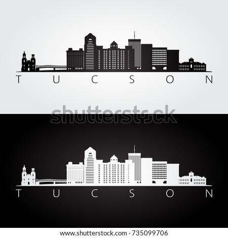 Tucson usa skyline and landmarks silhouette, black and white design, vector illustration.