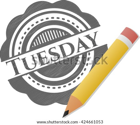 Tuesday emblem draw with pencil effect