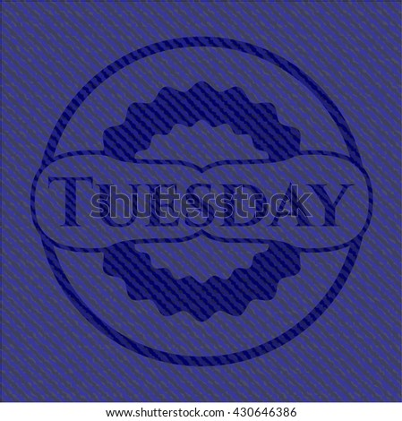 Tuesday jean or denim emblem or badge background