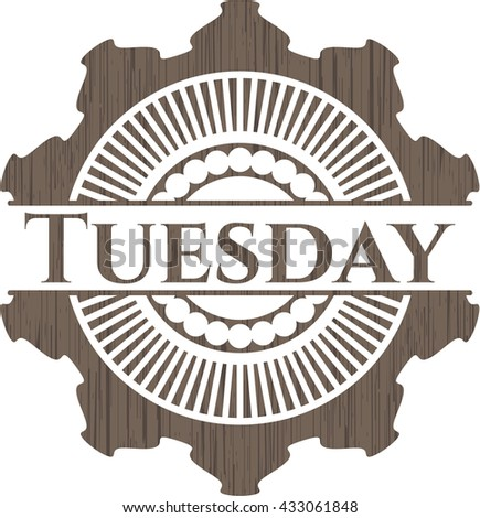 Tuesday retro style wooden emblem