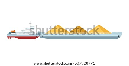 Tug boat moves cargo barge isolated on white background. Freight ship side view. Cargo barge and tug boat in flat design. Work boat vector isolated.