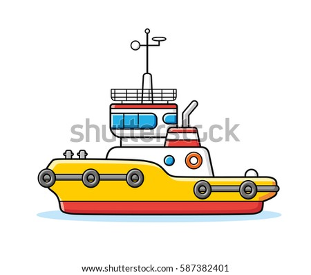 Tug boat vector isolated.