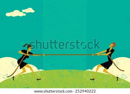 tug of war businesswomen