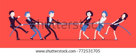 Tug of war, men vs women. Male and female teams in contest pulling against each other, opposite genders in test of strength, superiority. Vector business concept illustration with faceless characters