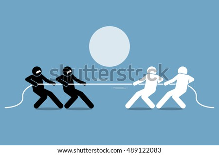 Tug of war. Vector artwork depicts power struggle, competition, and opposition. Foto d'archivio ©