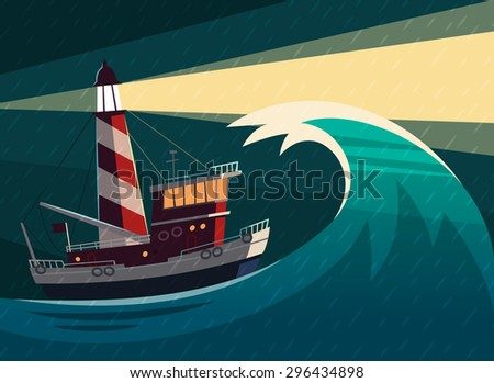 tugboat with lighthouse on it