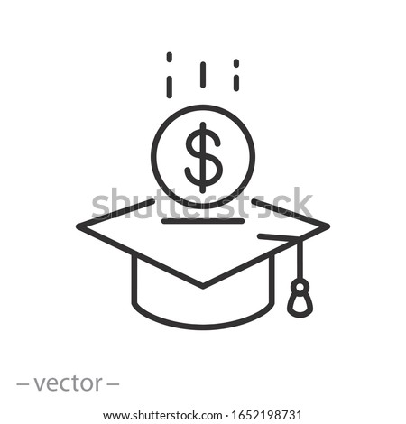Tuition fee or scholarship icon, loan on education, value academy grad, money with graduate hat, thin line web symbol on white background - editable stroke vector illustration eps10