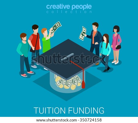 Tuition fee web crowd funding platform volunteer concept flat 3d isometric infographic. Group of donors putting money into box shaped graduate cap. Crowd funding process. Creative people collection.