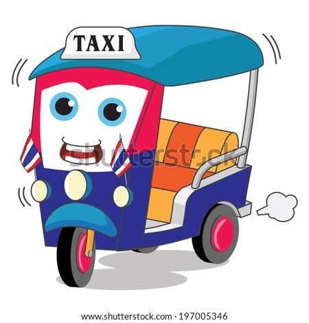 TukTuk Rickshaw Thai Traditional Taxi - Illustration