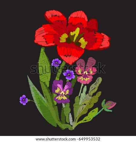 tulip and violet pansies