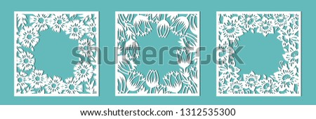 Tulip, cornflower, daffodil. A set of floral frames for cutting out of paper, laser or plotter. Vector