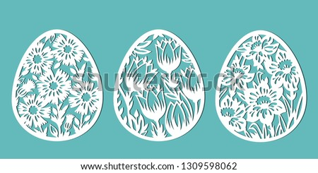 Tulip, cornflower, daffodil in the shape of an egg. Decorated eggs for Easter holidays. A set of templates for cutting paper, laser cutting and plotter. Vector.