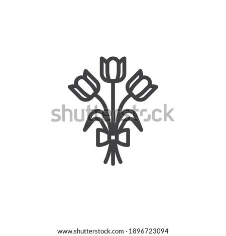 tulip flowers bouquet line icon