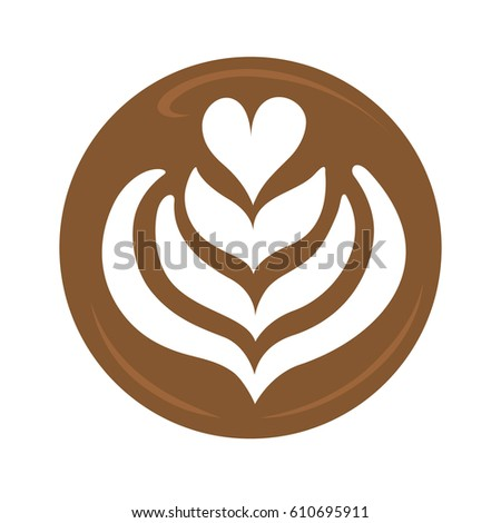 Tulip heart and rosetta latte art coffee design for logo, icon, symbol