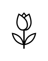 tulip icon vector, simple flower sign and symbol