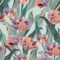 Tulip seamless vector pattern. Large pink flowers and green leaves on light blue background. Square design for fabric, wallpaper, wrapping paper, invitation card.