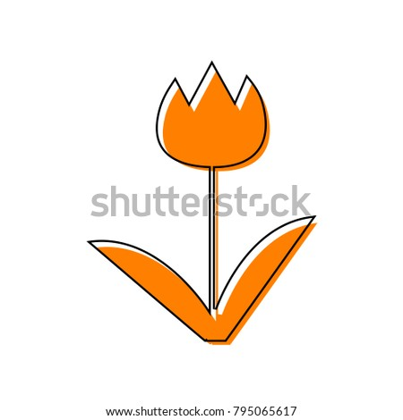 Tulip sign. Vector. Black line icon with shifted flat orange filled icon on white background. Isolated.