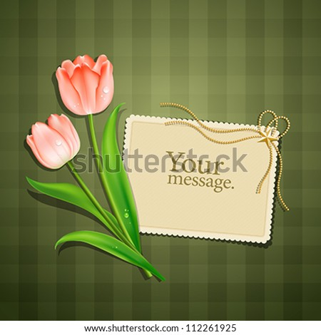 Tulips and paper card, vector illustration