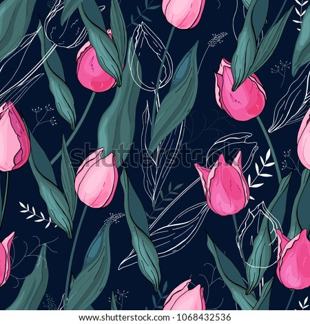 tulips hand drawn style