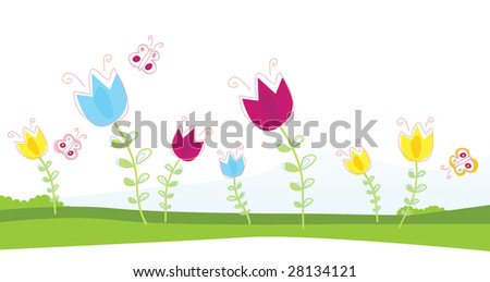 tulips vector illustration of