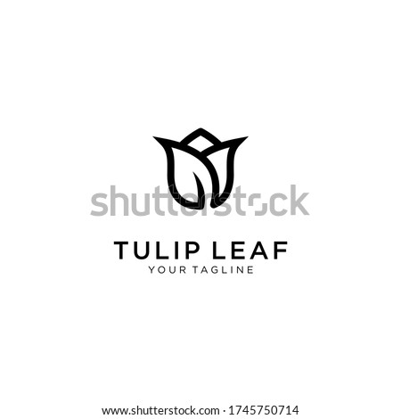 Tulips with leaf logo. Line art, outline, monoline, silhouette style tulips flower. For salon or cosmetics brand logo template Stock photo ©