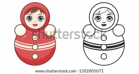 Tumbler doll. Roly-Poly toy. Russian doll nevalyashka. Tilting doll. Punching clown. Matryoshka vintage, Nevalyashka roly poly. Weeble wobbles dolls. Musik dolls. Children's toy. Design elements set.