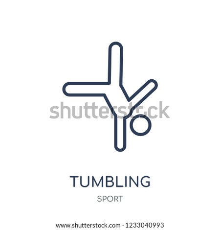 tumbling icon. tumbling linear symbol design from sport collection. Simple outline element vector illustration on white background