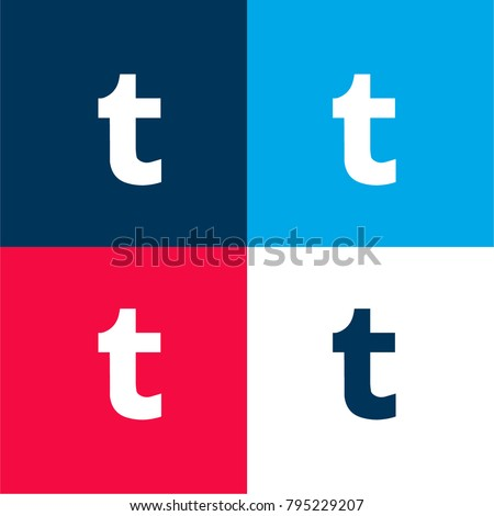 Tumblr logo four color material and minimal icon logo set in red and blue