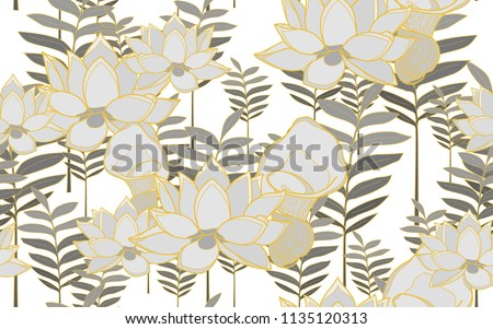 Tumeric leaves and lotus flowers. Big leaves and exotic flowers composition. Vector illustration. Botanical seamless wallpaper. Digital nature art. Cartoon style sketch. White background.
