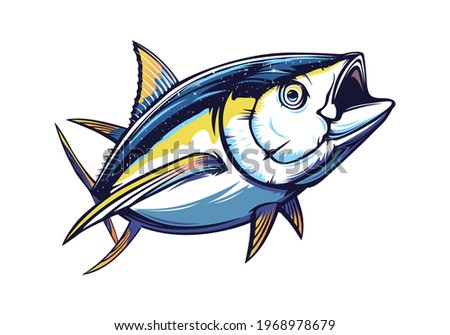 Tuna big fishing on white logo illustration. Vector illustration can be used for creating logo and emblem for fishing clubs, prints, web and other crafts. Foto d'archivio ©