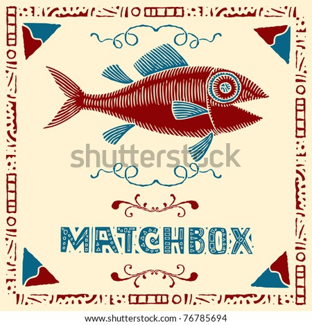 tuna fish matchbox label