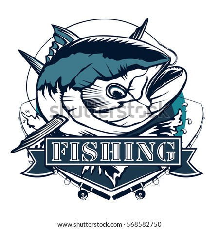 Tuna fishing logo isolated on white. Blue and white vector illustration. Emblem for sport club.