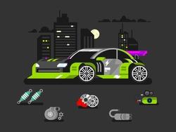 Tuned machine nitrous oxide. Diagnostic engine car, transportation automotive, motor and vehicle, flat vector illustration