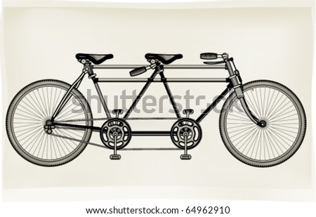Tuned retro tandem bicycle - stock vector