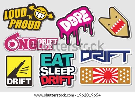 Tuner Car Decals, and Stickers in Vector format