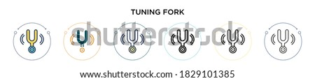 Tuning fork icon in filled, thin line, outline and stroke style. Vector illustration of two colored and black tuning fork vector icons designs can be used for mobile, ui, web Foto stock ©