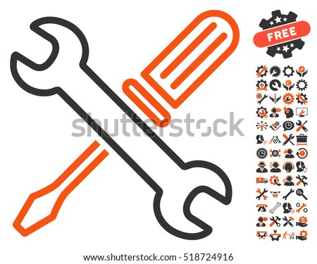 Tuning Tools icon with bonus configuration symbols. Vector illustration style is flat iconic orange and gray design elements on white background.