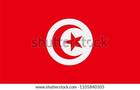 Tunisia Flag, Vector image and icon