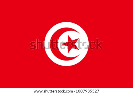 Tunisia flag with official colors and the aspect ratio of 2:3. Flat vector illustration.