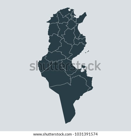 Tunisia map on gray background vector, Tunisia Map Outline Shape Gray on White Vector Illustration, High detailed Gray illustration map Tunisia.
