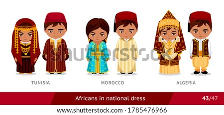 Tunisia, Morocco, Algeria. Men and women in national dress. Set of african people wearing ethnic traditional costume. Isolated cartoon characters. Vector flat illustration.