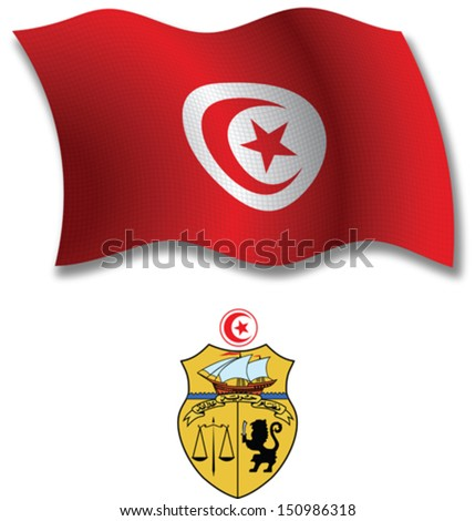tunisia shadowed textured wavy flag and coat of arms against white background, vector art illustration, image contains transparency transparency