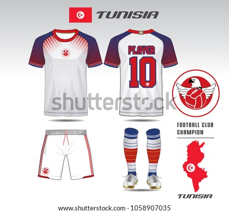 74f636fb8 Tunisia soccer jersey or team apparel template. Mock up Football uniform  for football club.
