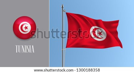 Tunisia waving flag on flagpole and round icon vector illustration. Realistic 3d mockup of red Tunisian flag and circle button