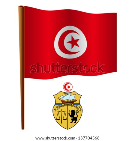 tunisia wavy flag and coat of arm against white background, vector art illustration, image contains transparency