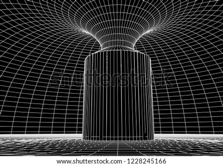 Stock Photo Tunnel or wormhole. Digital 3d wireframe tunnel. 3D tunnel grid. Network cyber technology. Surrealism. Background abstract vector image