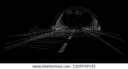 tunnel sketch isolated on black