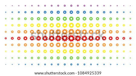 Turbine icon rainbow colored halftone pattern. Vector turbine shapes are arranged into halftone array with vertical spectral gradient. Designed for backgrounds, covers,