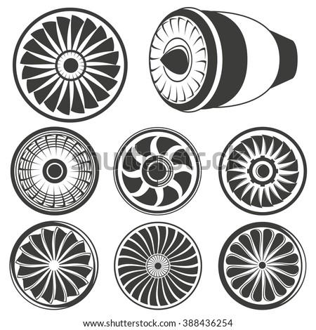 turbine icons set, airplane engine icons, jet engine icons
