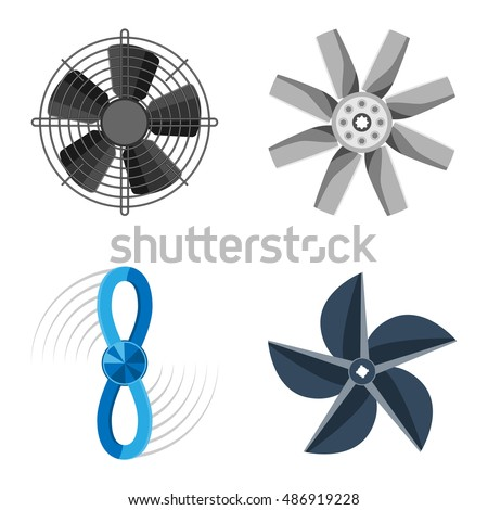 Turbines icons propeller fan rotation technology equipment